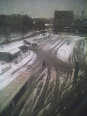 Brooklyn Blizzard Photos: View from the J train leaving the Marcy Avenue stop looking down at the bus lot.