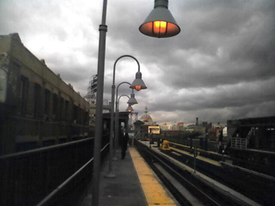 View from the top platform at the Marcy train station (on the J line) looking out in the direction of the Williamsburg bridge.