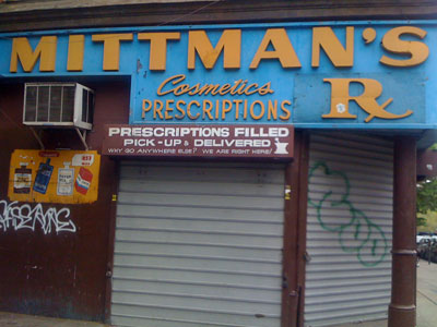 Mittman's Drug Store located at Havemeyer and South 3rd in Williamsburg, Brooklyn 11211