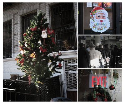 A Christmas in Williamsburg, Brooklyn: A Christmas tree decorates the garbage bins in front of 331 Keap Street, a Santa decoration on the door of a Chinese take out establishment on Marcy and Broadway, the long lines at the Williamsburg Post Office, and hallway decorations at 331 Keap Street.